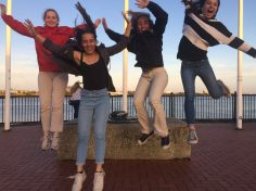 Jumping Teen Travellers